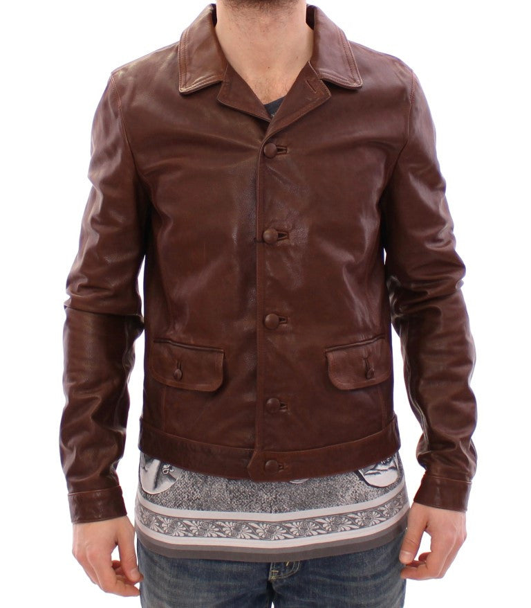 Brown Bull Taurus Leather Jacket Coat