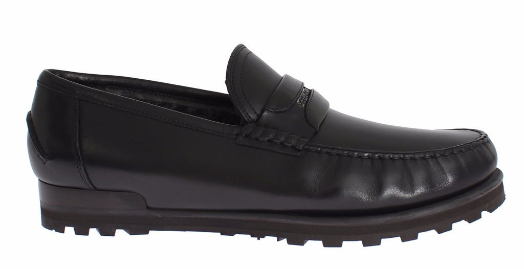 Black Leather Loafers Casual Dress Shoes