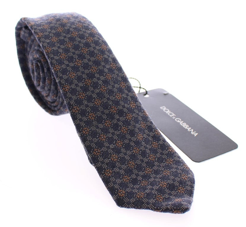 Blue Baroque Silk Wool Blend Skinny Neck Tie