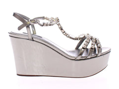 Silver Leather Crystal Wedges Sandals Shoes