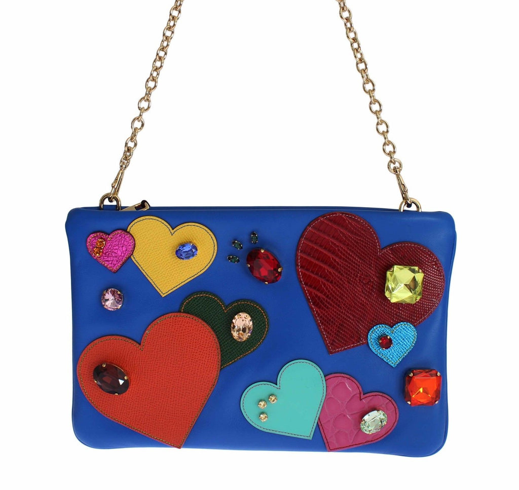 Blue Leather Multicolor Heart Crystal Clutch