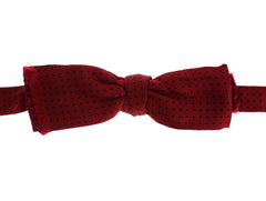 Red Polka Dotted 100% Silk Neck Bow Tie