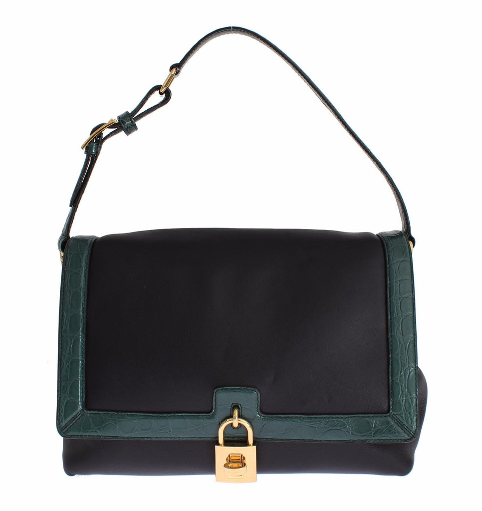 MISS BONITA Green Caiman Leather Hand Shoulder Bag