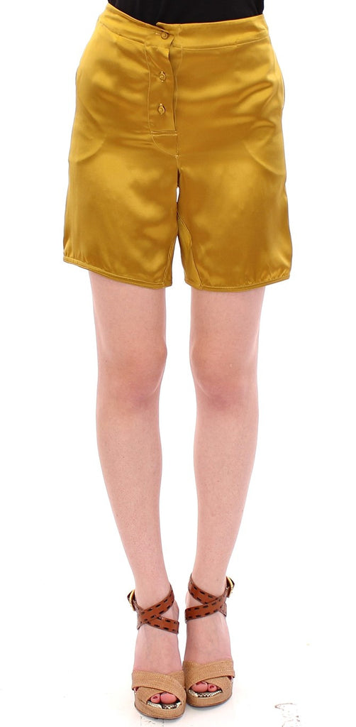Gold Silk High Waist Stretch Shorts
