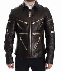 Brown Lambskin Leather Zipper Jacket