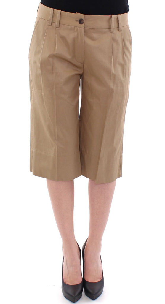 Beige Solid Cotton Shorts Pants