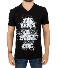 Black cotton motive print t-shirt