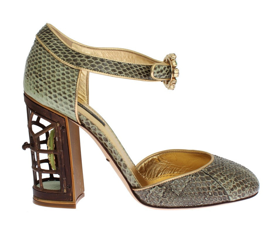 Green Snakeskin Leather Cage Crystal Shoes