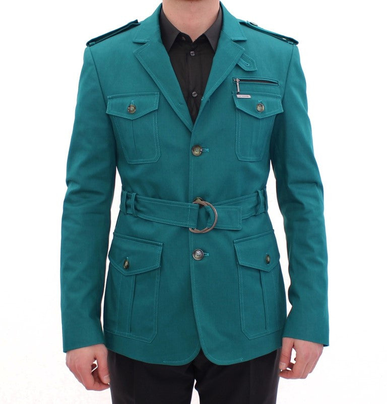 Turquoise Slim Fit Stretch Jacket Coat