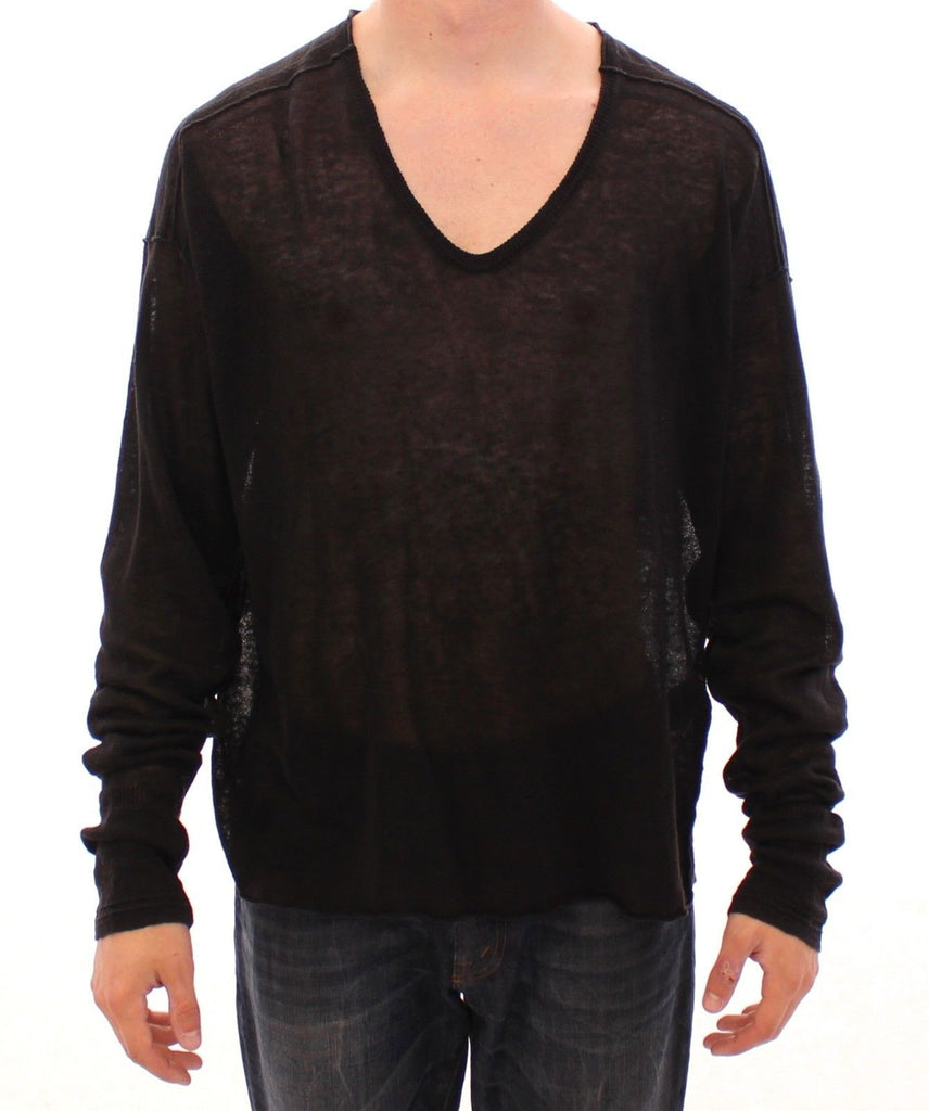 Black Linen Logo V-neck Sweater Pullover