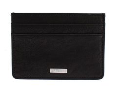 Black Leather Four Card Slots Mens Cardholder
