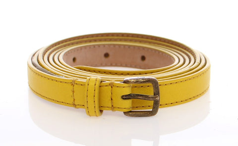 Yellow Double Wrap Leather Logo Belt