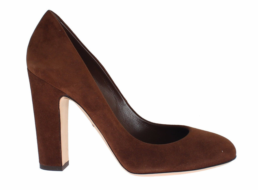 Brown Suede Block Heels Classic Pumps Shoes