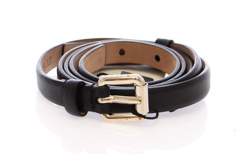 Black Leather Logo Belt