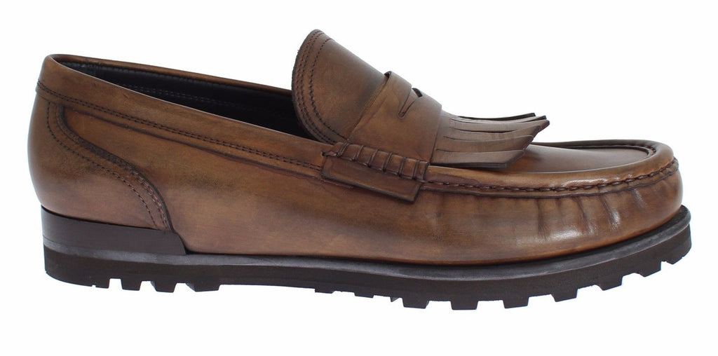 Brown Leather Loafers Casual Dress Shoes