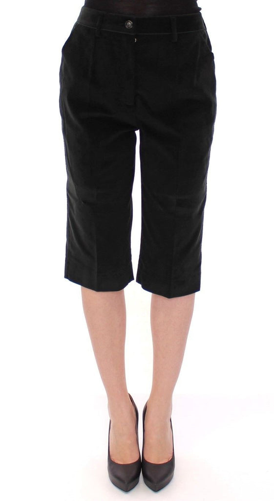 Black Cotton Solid Pattern Shorts Pants