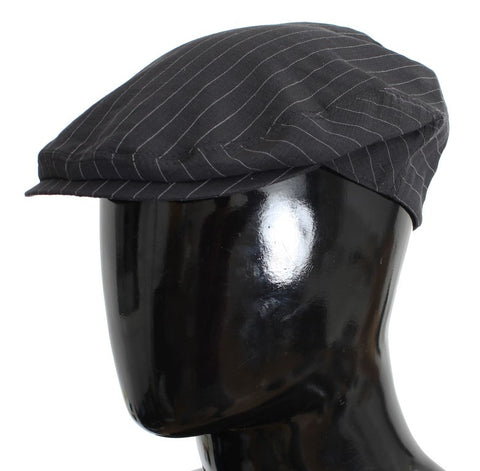 Gray Striped Cotton Newsboy Cap