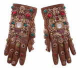 Beige Leather Gold Crystal Baroque Wrist Gloves