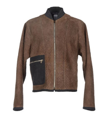 Brown Gray Leather Jacket Coat