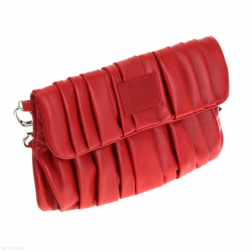 Leather Pleated Clutch (Red)