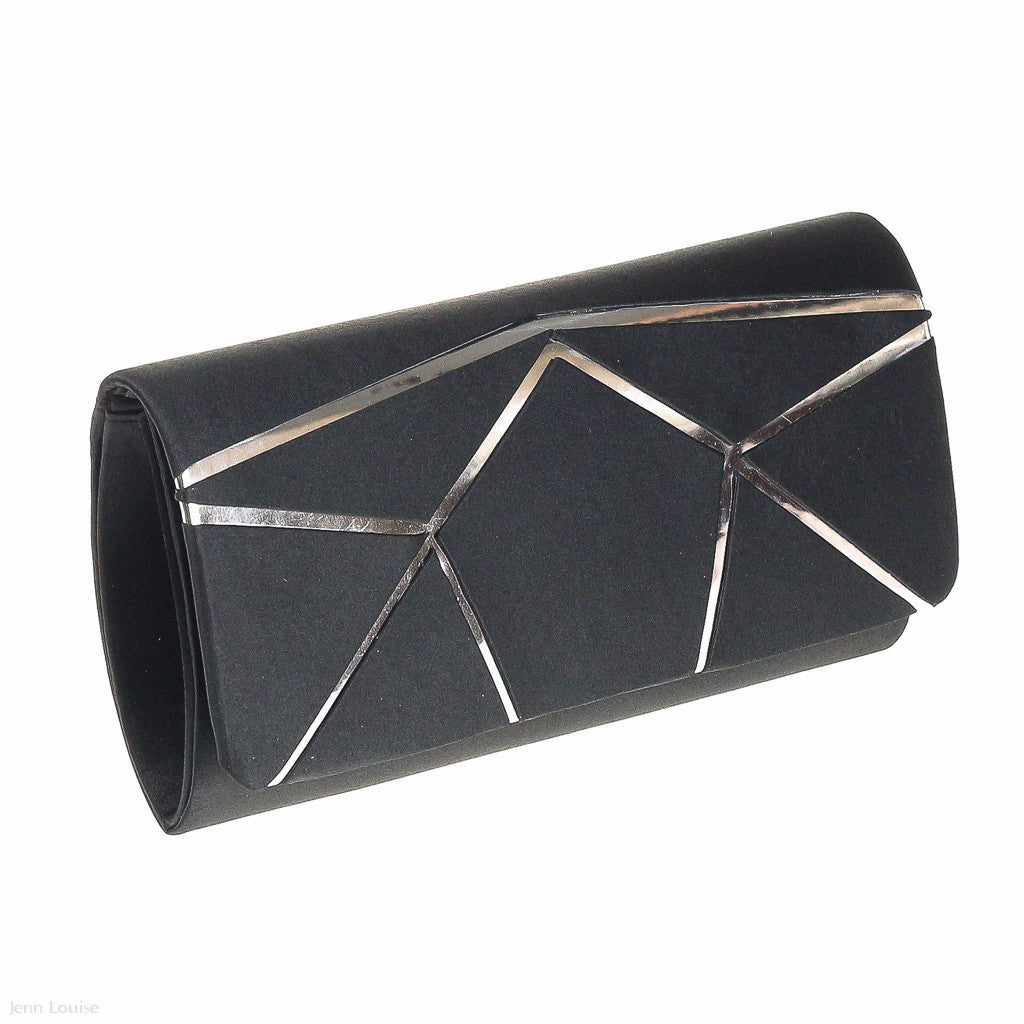 Joan Satin Clutch (Black)