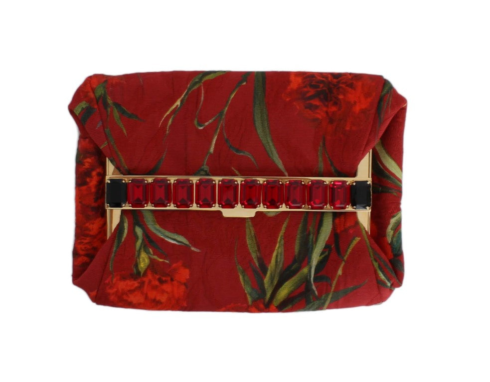 Red Roses Print Crystal Clutch Purse Bag