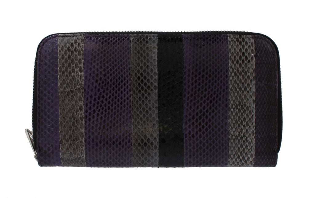 Purple Gray Snakeskin Continental Wallet