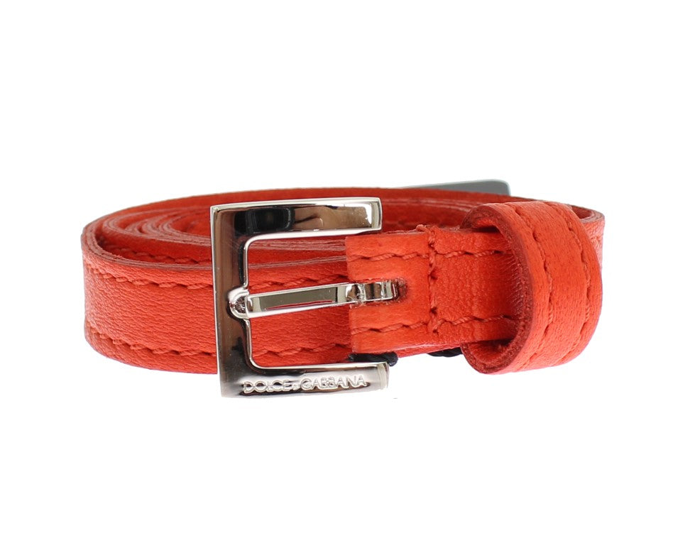 Orange Leather Silver Buckle Logo Belt