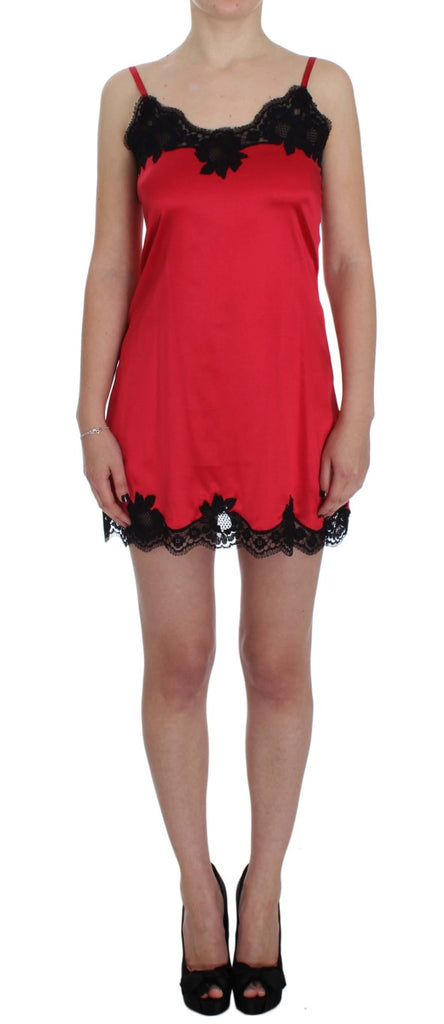 Red Black Silk Lace Lingerie Dress