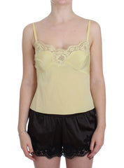 Yellow Silk Stretch Floral Lace Tank Top