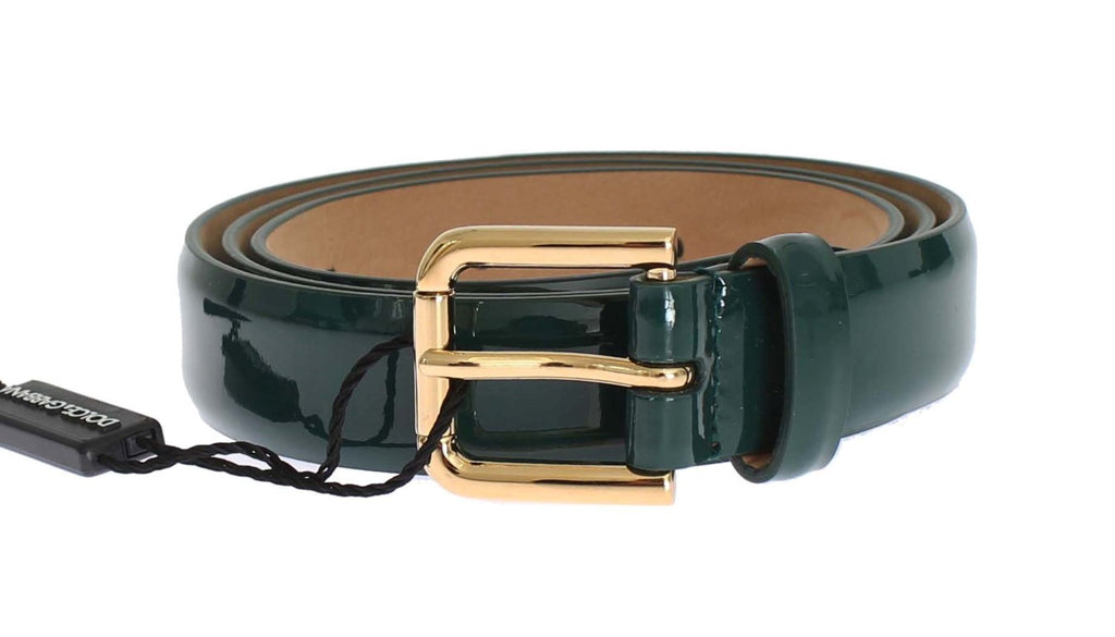 Green Patent Leather Gold Buckle Belt