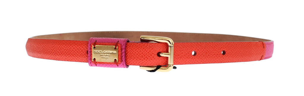 Orange Leather Gold Buckle Logo Waist Belt