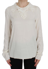 White Silk Stretch Blouse Top