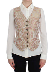 Pink Gold Baroque Silk Vest