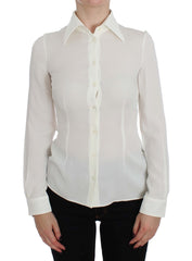 White Silk Stretch Long Sleeve Shirt