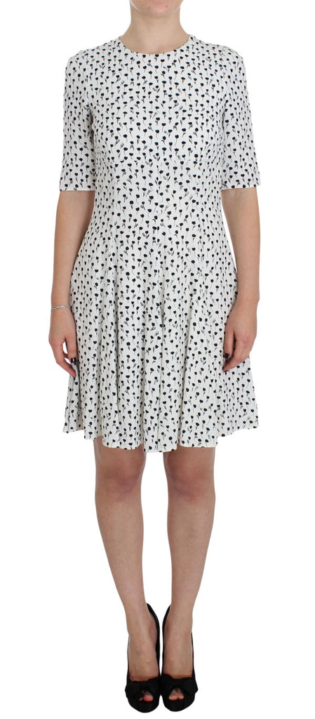 White Black Floral A-Line Shift Dress