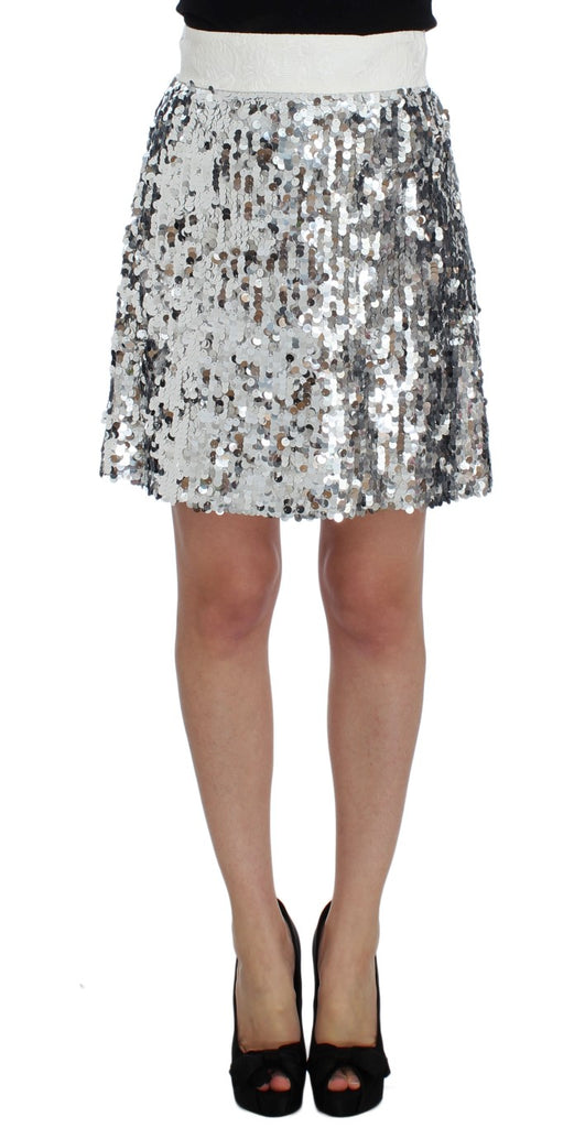 Silver Sequined A-Line Skirt