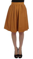 Orange Cotton Pleated Skirt