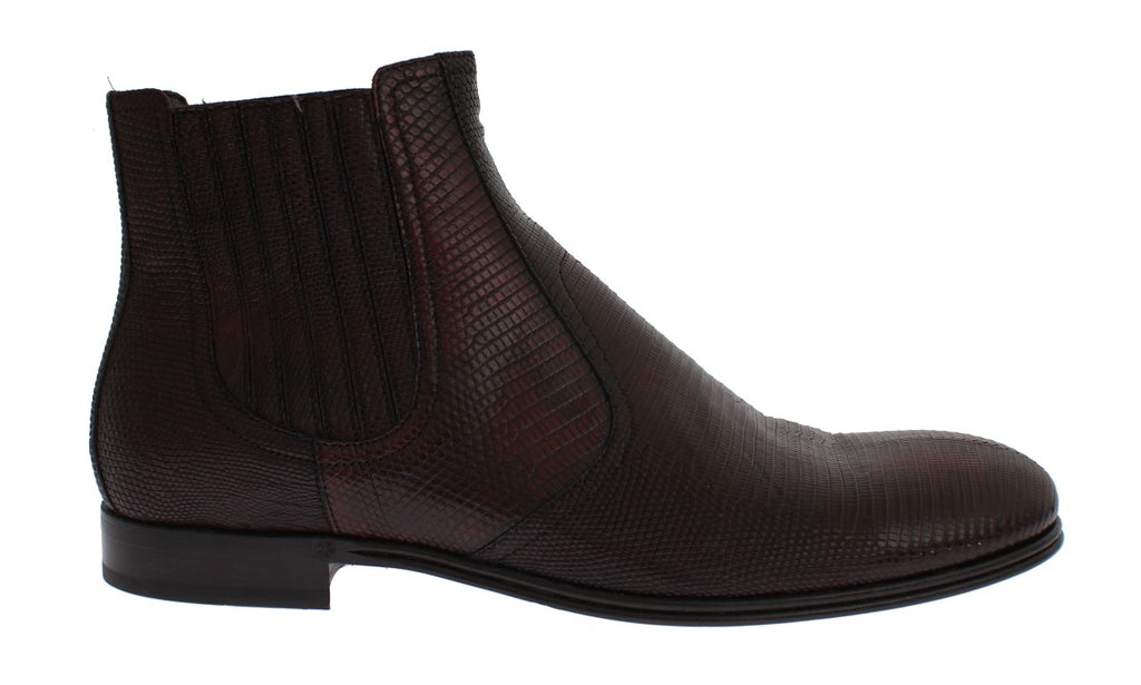 Bordeaux Lizard Leather Ankle Shoes Boots