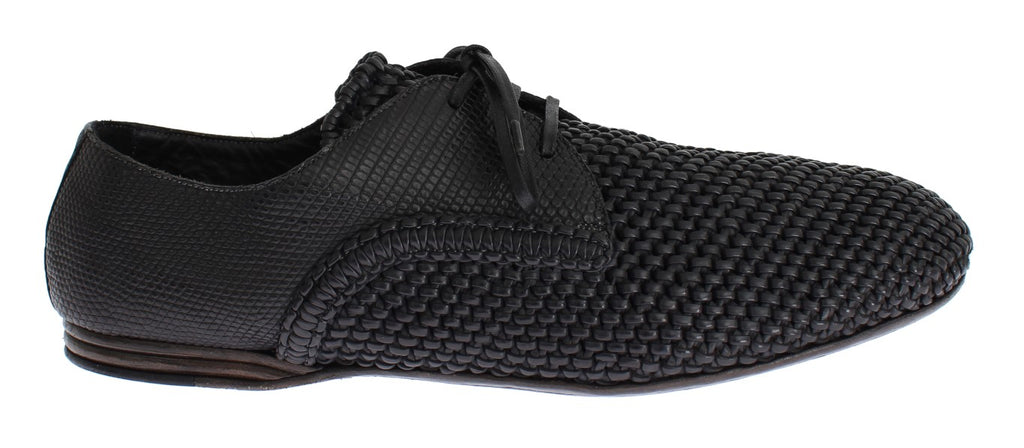 Black Lizard Skin Woven Leather Shoes