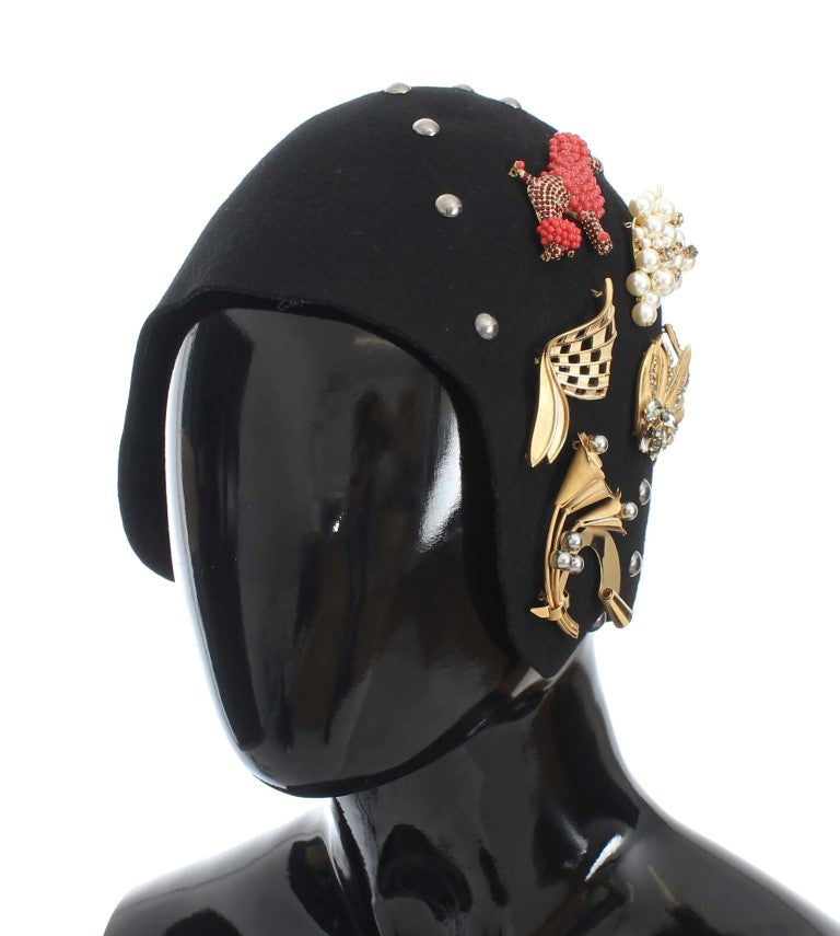 Black Wool Crystal Gold Brooch Hat