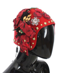 Red Crystal Gold Roses Brooch Hat