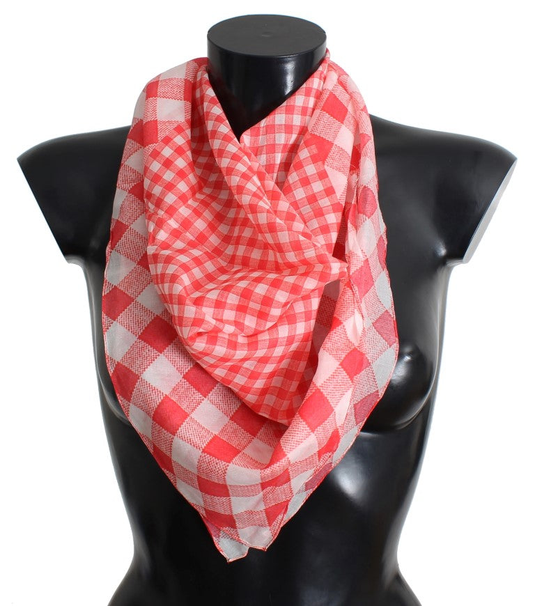 Red Checkered Cotton Scarf