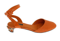 Orange Leather Crystal Block Heel Shoes