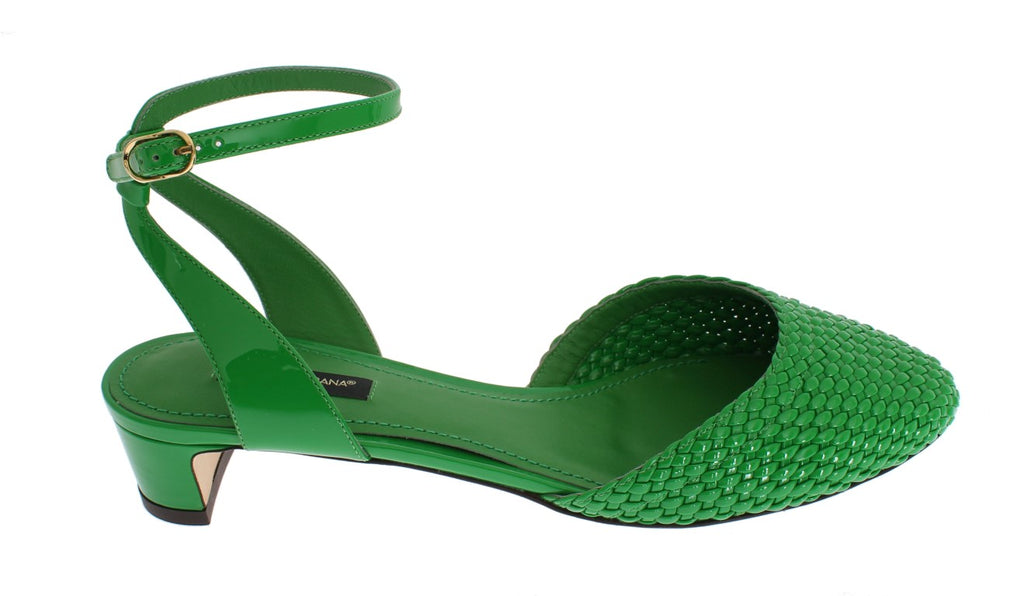 Green Leather Block Heel Shoes