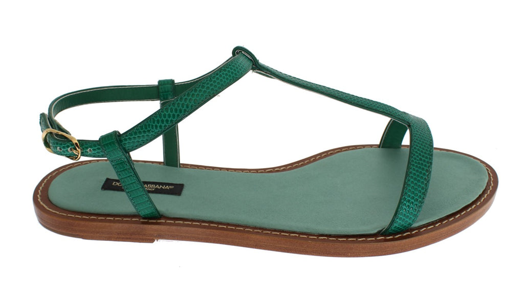 Green Lizard Skin Leather Sandal Shoes