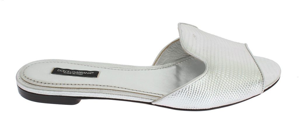 Silver Lizard Leather Flats Sandals Shoes