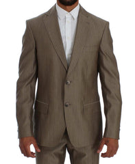 Beige Striped Regular Two Button Suit