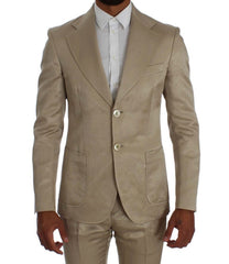 Beige Linen Regular Two Button Suit
