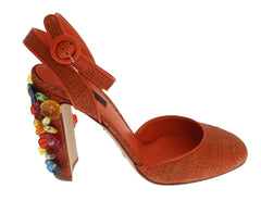 Orange Paglia Floral Crystal Sandals